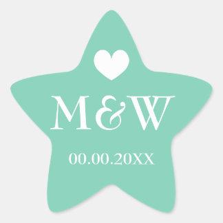 Mint star fish monogram wedding favor stickers