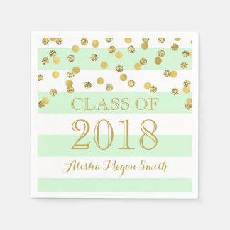 Mint Stripe Gold Confetti Class of 2018 Graduation Disposable Serviette
