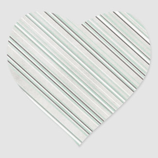 Mint Striped Background Heart Stickers