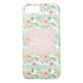 Mint Stripes Floral Chic iPhone 8/7 Case