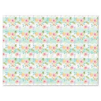 Mint Stripes Floral Chic Tissue Paper