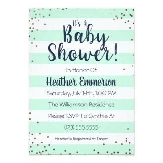 Mint Stripes & Glitter Baby Shower Invitation