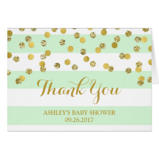 Mint Stripes Gold Confetti Baby Shower Thank You Card