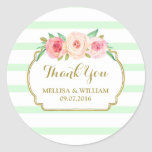 Mint Stripes Gold Pink Floral Wedding Favour Tags Round Sticker