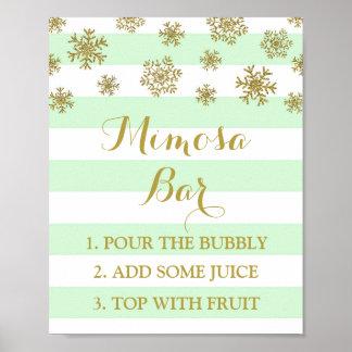 Mint Stripes Gold Snow Mimosa Bar Sign