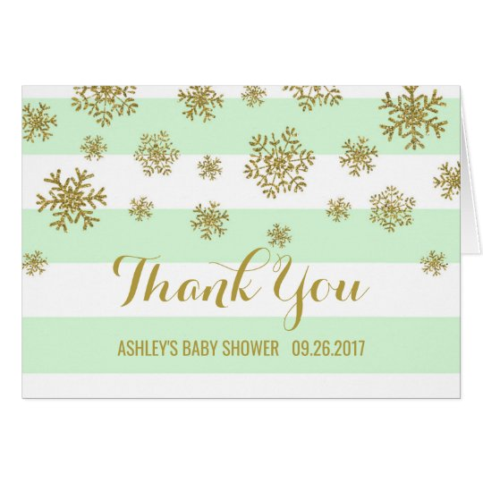 Mint Stripes Gold Snowflakes Baby Shower Thank You Card