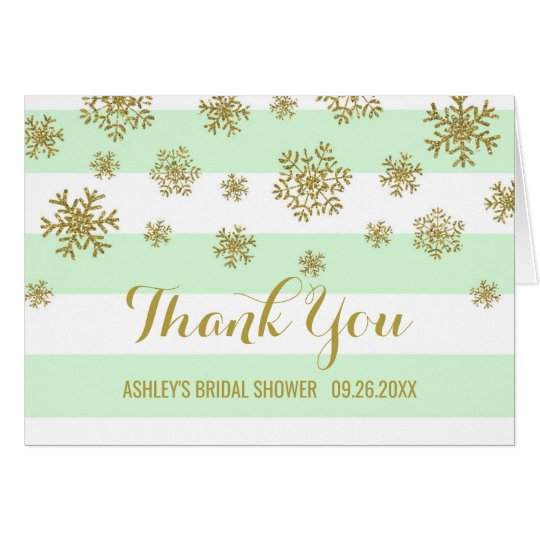 Mint Stripes Gold Snowflakes Bridal Shower Thanks Card