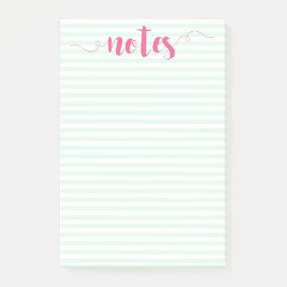 Mint stripes & Pink Brush Script Post-it Notes
