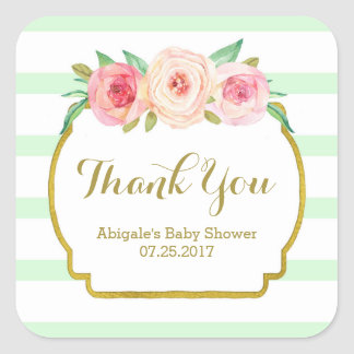 Mint Stripes Pink Floral Baby Shower Favor Tags Square Sticker