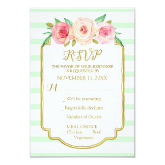 Mint Stripes Pink Flowers Gold Wedding RSVP 9 Cm X 13 Cm Invitation Card