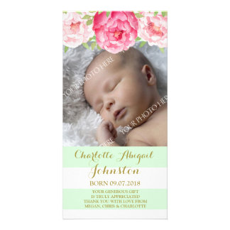 Mint Stripes Pink Flowers Thank You Baby Shower Custom Photo Card