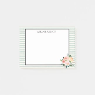 Mint Stripes Spring Peonies Personalised Post-it Notes