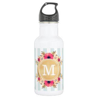 Mint Stripes Watercolor Flowers Faux Gold Monogram 532 Ml Water Bottle