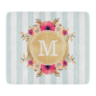 Mint Stripes Watercolor Flowers Faux Gold Monogram Cutting Board