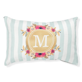 Mint Stripes Watercolor Flowers Faux Gold Monogram Pet Bed