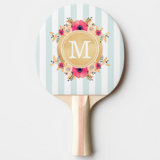 Mint Stripes Watercolor Flowers Faux Gold Monogram Ping Pong Paddle
