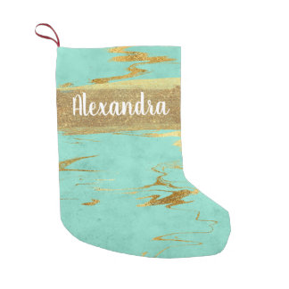 Mint Teal & Gold Marble Glitter and Sparkle Small Christmas Stocking