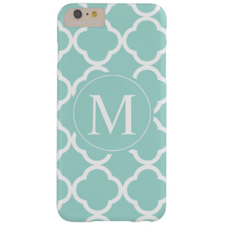 Mint Teal Pattern Monogram Barely There iPhone 6 Plus Case