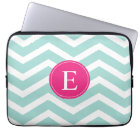 Mint Teal Pink Chevron Monogram Laptop Sleeve