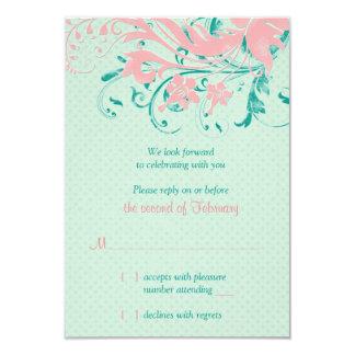 Mint Teal Pink Vintage Floral Wedding Reply Card 9 Cm X 13 Cm Invitation Card