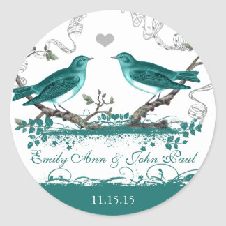 Mint Teal Romantic Rustic Love Bird Wedding Round Stickers