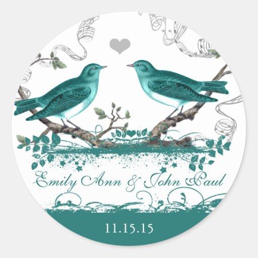 Mint Teal Romantic Rustic Love Bird Wedding Round Stickers