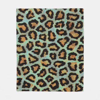 Mint Tease me teal  Leopard print style blanket