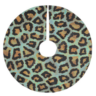 Mint Tease me teal  Leopard print style tree skirt Brushed Polyester Tree Skirt