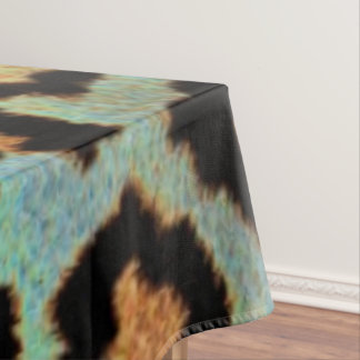 Mint Tease me teal  Leopard print tablecloth