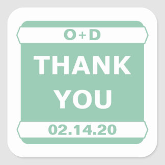 Mint Thank You Stickers