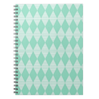 Mint Triangle - Diamond pattern with white stripes Note Book
