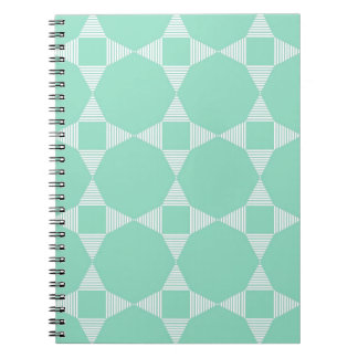 Mint Triangle - Star pattern with white stripes Spiral Note Book