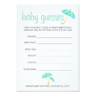 Mint Umbrellas Baby Shower Guessing Game 13 Cm X 18 Cm Invitation Card