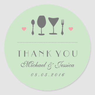 Mint Vintage Fork Spoon Wedding Thank You Sticker