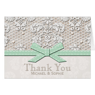 Mint Vintage Lace Pearl Thank You Wedding Cards