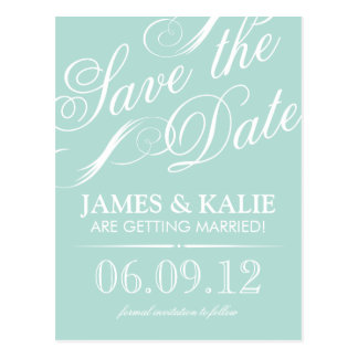 Mint Vintage Script Save the Date Postcard