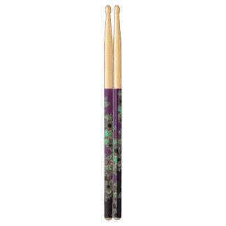 Mint Violet Psychedelic Fractal Drumsticks Drumsticks