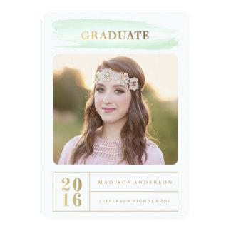 Mint Watercolor Brush Graduation Invitation