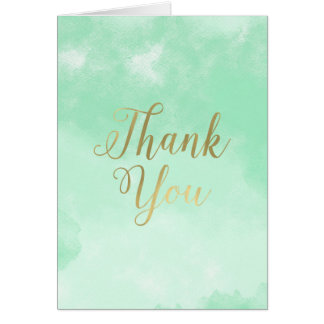 Mint Watercolor Gold Thank you Card