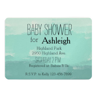 Mint Watercolor Ombre baby shower Card