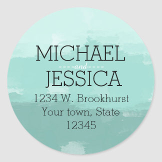 Mint Watercolor Personalized Round Sticker