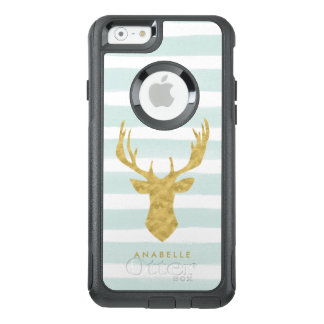 Mint Watercolor Stripes and Gold Deer OtterBox iPhone 6/6s Case