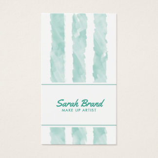 Mint Watercolor Stripes Business Card