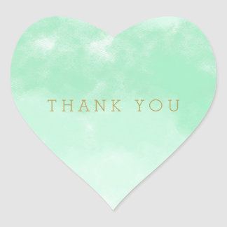Mint Watercolor Thank You Heart Sticker