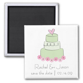 Mint Wedding Cake | Save the Date Square Magnet