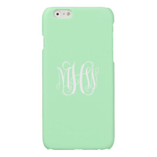 Mint White 3 Initials Vine Script Monogram Glossy iPhone 6 Case