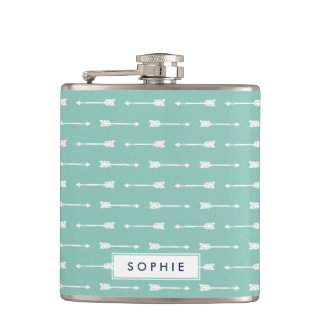 Mint & White Arrows Personalized Flask