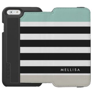 Mint White Black Beige Stripes - Simple Elegant Incipio Watson™ iPhone 6 Wallet Case