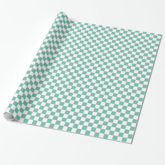 Mint White Checkered Squares Wrapping Paper