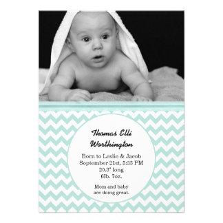 Mint White Chevron Baby Birth Announcement